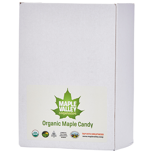 Case of organic maple candy by Maple Valley Coop