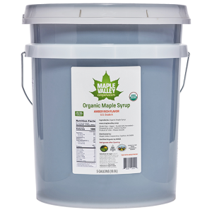 Five gallon bucket of organic maple syrup amber rich by Maple Valley Coop