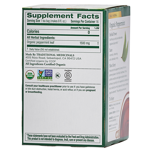 Supplement facts of Traditional Medicinals organic peppermint tea - Maple Valley Coop Master Cleanse kits