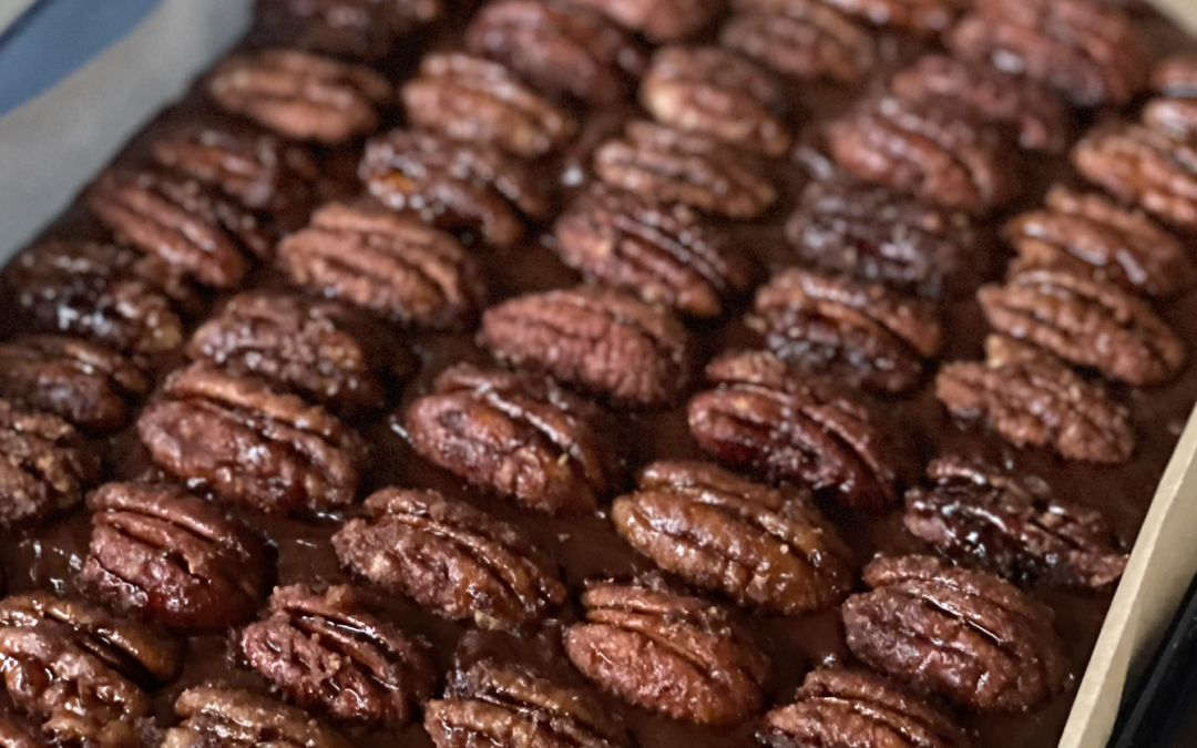 Dairy-free Fudge with Maple Whiskey Candied Pecans